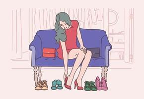 compras, moda, vestido, concepto de ropa. una joven elige, mide, vende o compra calzado de moda en una tienda de ropa o en su casa. vector plano simple.
