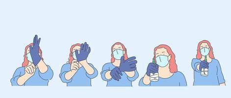 Healthcare, quarantine, protection, coronavirus infection concept. Young woman girl with medical face mask puts on gloves and pouring antiseptic. vector