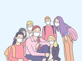 coronavirus, protección, concepto de riesgo biológico. una joven profesora y sus escolares enmascarados se protegen del virus. medidas preventivas de la enfermedad covid19 y el riesgo biológico 2019ncov. vector