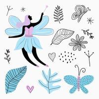 conjunto de dibujos animados lindo hada, mariposa, flores, licencia y amor aislado sobre fondo blanco. diseño de telas para niñas, obras de arte, papeles pintados, estampados. vector, niños, ilustración vector