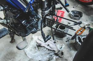 Motorcycle being repaired photo