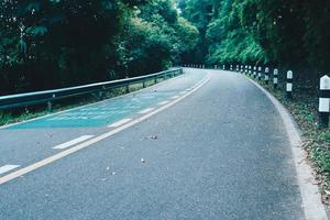 Road with bicycle lane in the country with nature surrounding