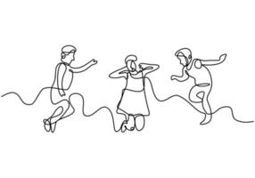 Happy jumping children continuous one line drawing. A little kids play in the playground cheerfully isolated on white background. Actively playing child one hand drawn minimalist style vector