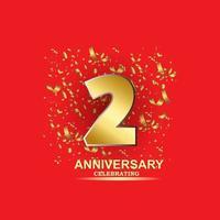 2 Year Anniversary Vector Template Design Illustration