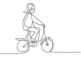 Continuous single drawn one line child on a bicycle. Little boy riding his bicycle at public park isolated on white background. Character happy childhood hand drawn picture silhouette vector