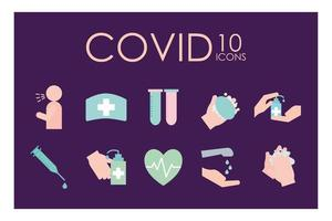 Covid-19 flat style icon set vector