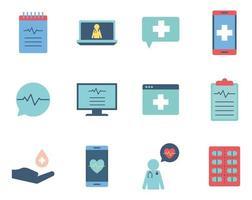 Online health icon set vector