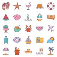 Summer line and fill style icon set vector