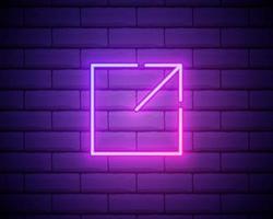 neón brillante abierto en el icono de nueva ventana aislado sobre fondo de pared de ladrillo. abra otro signo de botón de pestaña. símbolo del marco del navegador. signo de enlace externo. ilustración vectorial vector