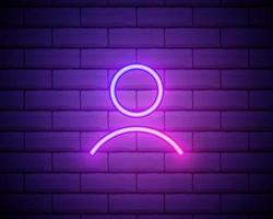 Male silhouette neon light icon. Gentlemen WC door glowing sign. Men's clothes department store. Vector isolated illustration isolated on brick wall