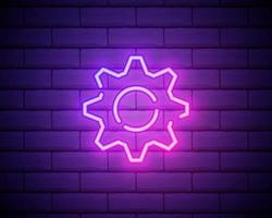 Gear, maintenance. Pink neon vector icon. Glowing gear symbol isolated on brick wall background.