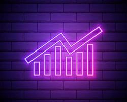 Business graph neon sign.graphic neon banner isolated on brick wall background vector