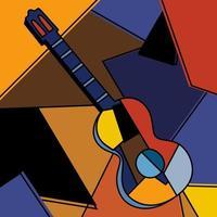 una guitarra acústica cubista pintura surrealista diseño abstracto moderno. un instrumento musical. música colorida abstracta. estilo minimalista cubismo. tema de guitarra y música. ilustración vectorial vector