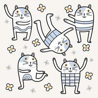 Stretching funny cats childish. Color kitties with flowers on white background. Sportish animal character. Vector set elements. Good for design, postcards, prints, clothing, textiles, wallpaper