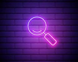 magnifying glass icon in neon style. Simple thin line, outline vector of education icons for UI and UX, website or mobile application isolated on brick wall