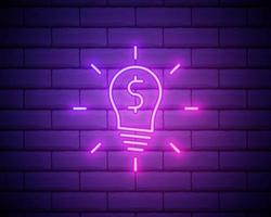 Glowing neon Light bulb with dollar symbol icon isolated on brick wall background. Money making ideas. Fintech innovation concept. Vector Illustration