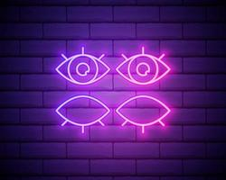 letrero de neón del ojo ojos abiertos y cerrados. ilustración vectorial de promoción empresarial. aislado en la pared de ladrillo vector