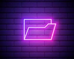 Folder of documents, portfolio with files, linear outline business icon. Neon style. Light decoration icon. Bright electric symbol isolated on brick wall vector