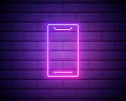 Mobile phone, smartphone neon sign. Bright glowing symbol on brick wall background. Neon style icon. vector