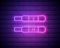 Positive and negative test neon light icon. Early sign of pregnancy. Gynecology checkup. Family planning. Outer glowing effect. Vector isolated RGB color illustration isolated on brick wall