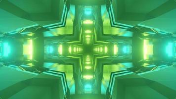 Futuristic corridor with green illumination 3D illustration photo
