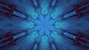 Ilustración 3d del túnel oscuro que brilla intensamente de color azul foto