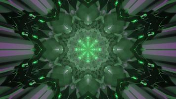 Green crystal shaped futuristic pattern 3d illustration photo