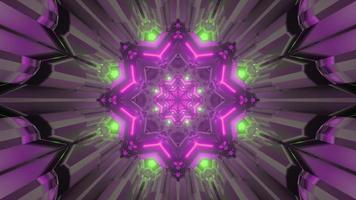 Colorful kaleidoscopic pattern with glowing lights 3d illustration photo