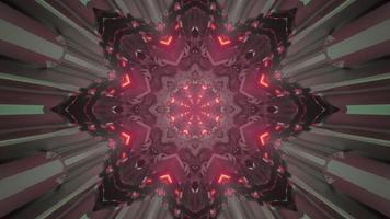 3d illustration of dark geometric tunnel