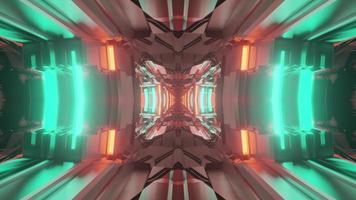 3d illustration of bright neon tunnel photo