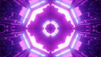3d illustration of sci fi neon tunnel photo