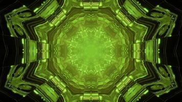 3d illustration of geometric green tunnel photo