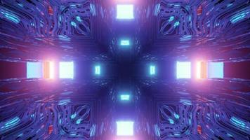 Futuristic corridor with neon illumination 3d illustration photo