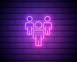 Neon light. Group line icon. Users or Teamwork sign. Person silhouette symbol. Glowing graphic design. Brick wall. Vector