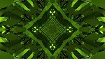Ilustración 3d de túnel verde con paredes de vidrio