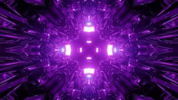 3d illustration of purple neon corridor photo