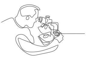 único continuo dibujado una línea de un hombre científico con un microscopio. el científico analiza en la investigación para encontrar la vacuna covid19. concepto de coronavirus de investigación médica aislado sobre fondo blanco vector