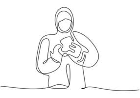 One line drawing art of medical staff wearing protective suit and putting on protective gloves isolated on white background. Protection from disease, flu, air pollution, pandemic, virus vector
