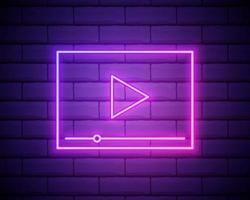 Video player neon interface, isolated vector illustration. VIdeo player glowing sign isolated on brick wall background.