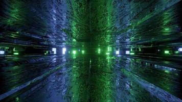 Virtual tunnel with neon illumination 3d illustration