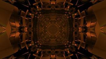 3D illustration of orange crystal tunnel photo