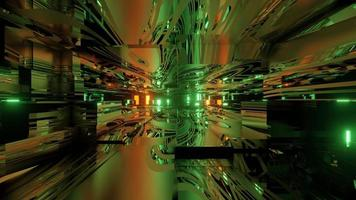 Abstract luminous futuristic building interior 3d illustration