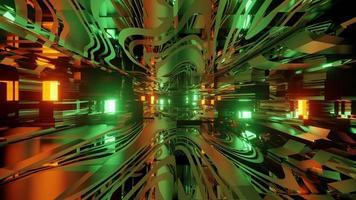 Futuristic tunnel with mirrored interior 3d illustration