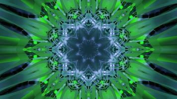 Glowing green kaleidoscope ornament 3d illustration photo