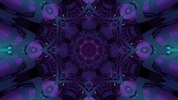 Purple geometric ornament with light reflections 3d illustration
