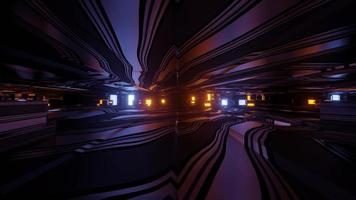 Motion inside of illuminated tunnel 3d illustration