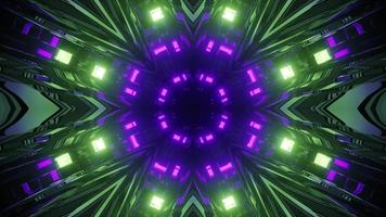 Shiny neon lights reflected in geometric tunnel 3d illustration photo