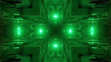 3d illustration of geometric cube corners and distant green lights