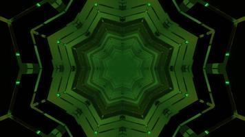 Geometric 3d illustration of green star shaped tunnel photo