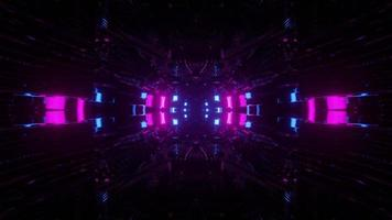 3D illustration on illuminated geometric shapes in darkness photo